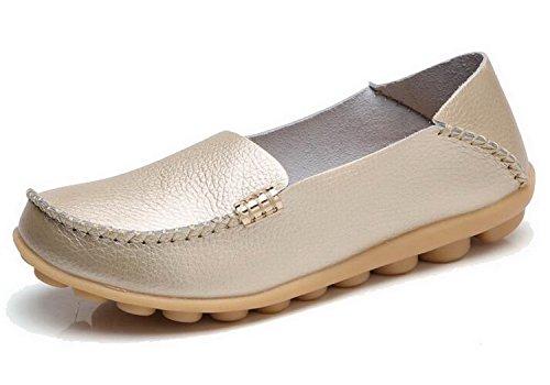 Rosa Leder Wohnungen (Frauen Casual Wohnungen Vintage Rutschfest auf Echtem Leder Loafer Schuhe Damen Casual Schuhe 9.5 Gold)