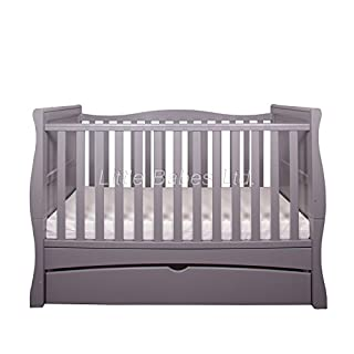 New Baby Grey Sleigh Mason Cot Bed with Drawer & High Density Foam Mattress (CMHR28) 140x70x10cm - Converts to Junior Bed/Toodler Bed