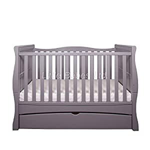 New Baby Grey Sleigh Mason Cot Bed with Drawer & High Density Foam Mattress (CMHR28) 140x70x10cm - Converts to Junior Bed/Toodler Bed m-kids Multifunctional changing table for many years of use - easy to turn into a junior desk when your child is not using diapers anymore Adjustable changing plate for optimal conception with your baby - without the need for too High edges for optimal safety 3