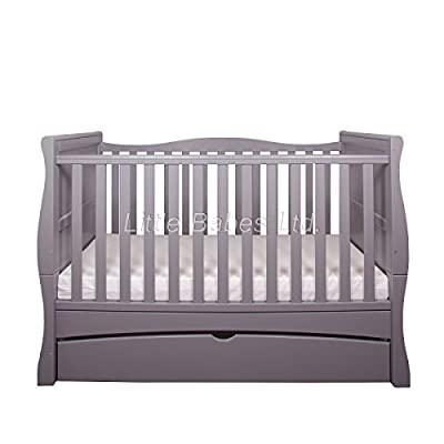 New Baby Grey Sleigh Mason Cot Bed with Drawer & High Density Foam Mattress (CMHR28) 140x70x10cm - Converts to Junior Bed/Toodler Bed  Gima
