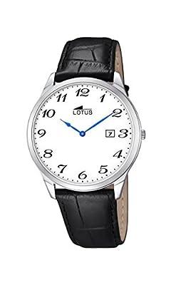 Lotus-Reloj con mecanismo de cuarzo para hombre color blanco esfera analógica pantalla y correa de cuero negro 10124/1 de Lotus