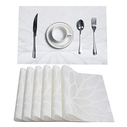 Platzsets Abwischbar Tischsets 10er Set Platzset PVC Hitzebeständig Platzdeckchen Vinyl Tischmatten Schmutzabweisend Platzmatten für Zuhause Restaurant Küche Speisetisch,30x45cm,White,45*30cm