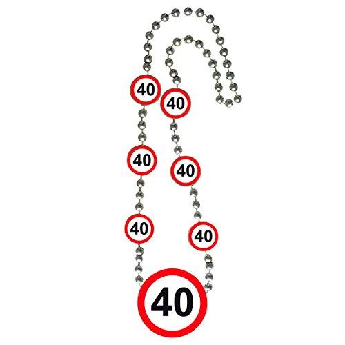 kette mit Medaillon 40er Geburtstag Kette Verkehrsschilder Partykette Halskette Geburtstagskind Party Zubehör Jubiläum Zahlenkette Geburtstagsgag Verkehrsschild ()