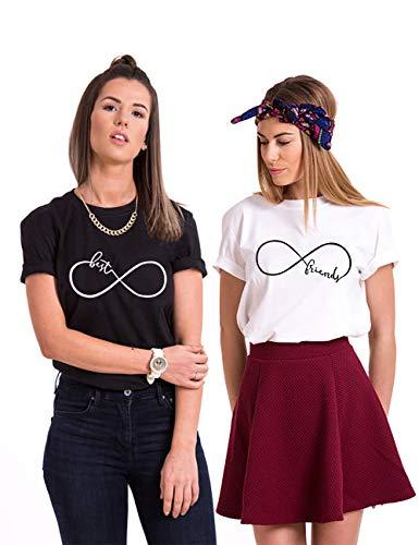 Best Friend T-Shirt für 2 BFF Sister Shirt Damen Sommer Oberteil BFF Geschenke