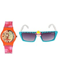 Fantasy World Orange Watch And Blue Sunglass Combo For Boys And Girls