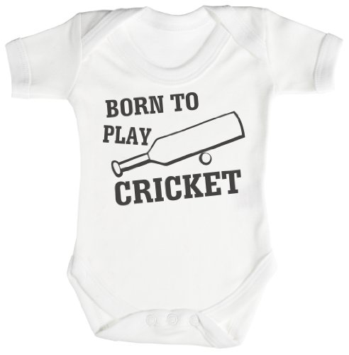 TRS - Born To Play Cricket Body bébé - cadeaux de bébé 18-24 Mois Blanc