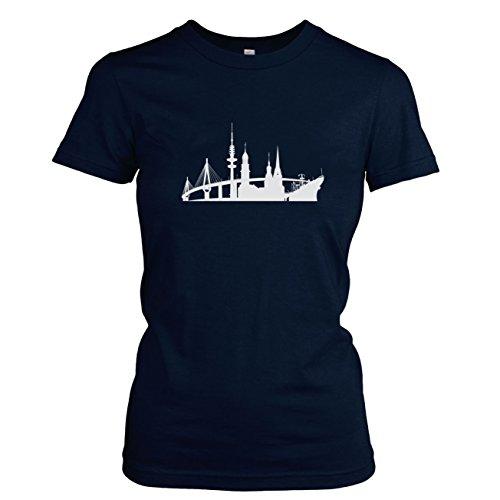 TEXLAB - Skyline Hamburg - Damen T-Shirt Dunkelblau