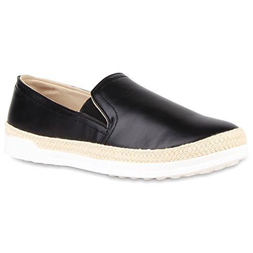 Damen Bast Slip-ons Slipper Sneakers Schwarz