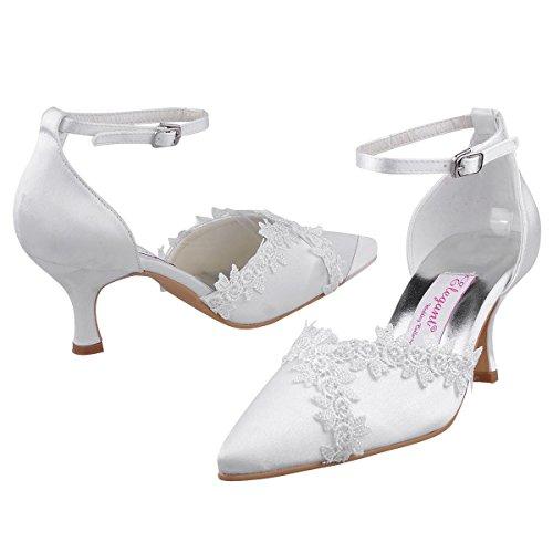 ElegantPark A1049 Donna Pointed Toe Applique Cinturino Alla Caviglia Spool Molto Raso Sposa Scarpe Da Sera Bianco