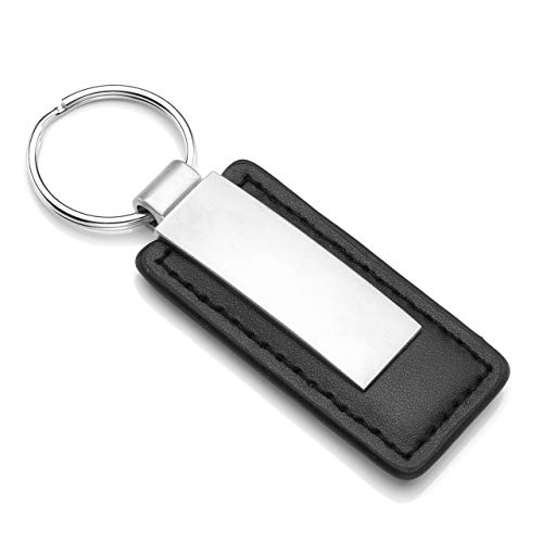 Genuine Red Leather Rectangular Silver Ford Mustang Logo Key Chain Fob Anello Matching In Colour Vehicle Parts & Accessories