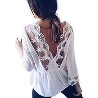 Damen T Shirt,Geili Frauen Sexy Spitze Backless Oberteile Damen Beiläufige Elegante Lange Hülsen Weiße T-Shirt... preisvergleich bei billige-tabletten.eu