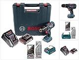 Bosch GSB 18-2-Li Plus Schlagbohrschrauber Professional 18 V im Koffer + 1x GBA 2,0 Ah + Schnellladegerät + 5 tlg. Steinbohrer Set + 7 tlg. Holzbohrer Set + USB Ladegerät Adapter