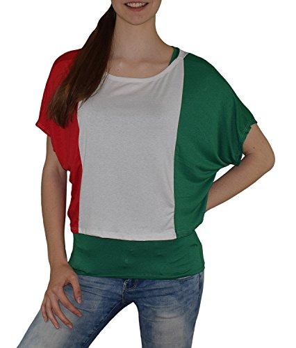 S&LU super angesagtes 2-teiliges Fan - Flag - Top Deutschland Italien Frankreich England Spanien USA Größe 34-40 (XS-L) (one size, Italien-grün) (Flag-shirt Top)