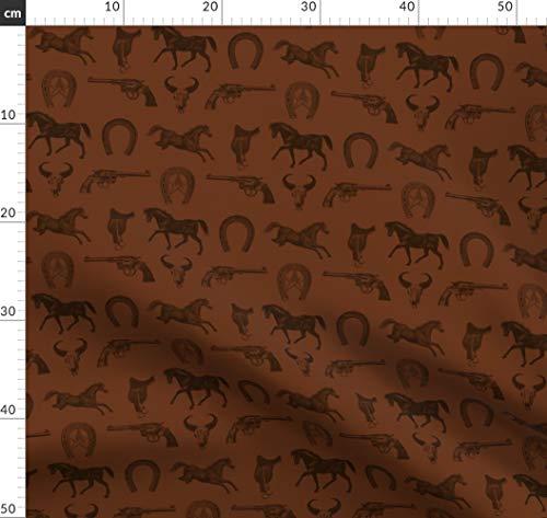 Western, Pferd, Sattel, Gewehr, Braun, Tiere Stoffe - Individuell Bedruckt von Spoonflower - Design von Cloudycapevintage Gedruckt auf Bio Baumwoll Interlock-Jersey -