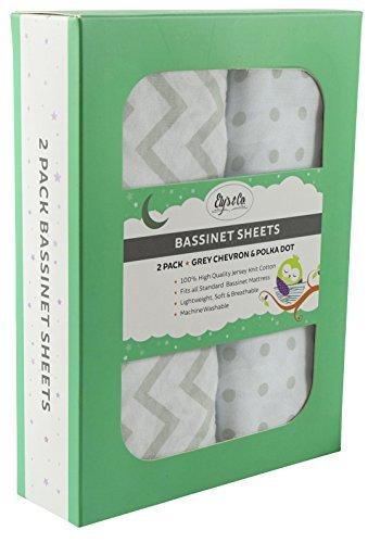 Ely ist & Co Stubenwagen-Bettlaken-Set 2Stück 100% Jersey Baumwolle für Baby Girl-Grau chevron und Polka Dot -