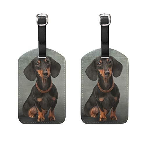 Hunde 2-stück Gepäck-set (Kofferanhänger für Gepäck Koffer 2 STÜCK Hundedachshund sitzend Leder Reisetasche Adressetiketten)
