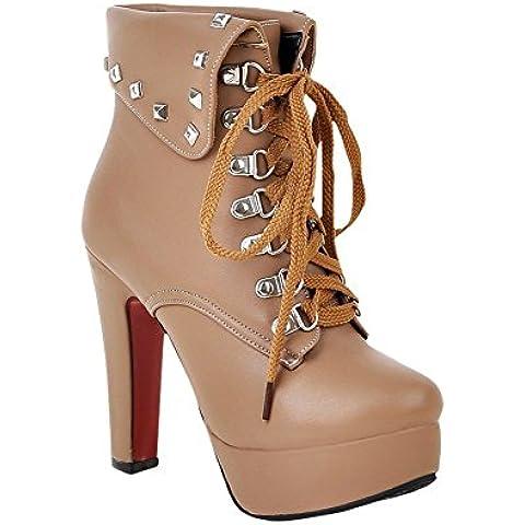 Minetom Mujer Otoño Invierno Botines Remaches Zapatos De Cordones Zapatos Plataforma Tacón Alto Martin