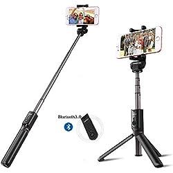 GWJNB Bluetooth Selfie Stick Treppiede, 2 in 1 Allungabile Monopiede Wireless Selfie Treppiede con 360 ° di Rotazione, Treppiede Selfie per iOS, Android, Samsung Ect