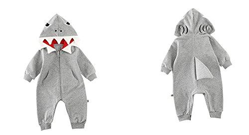 Fairy Baby Bambino Ragazzi Bambine 3D Costume da squalo Pagliaccetto con Cappuccio Tuta Abiti