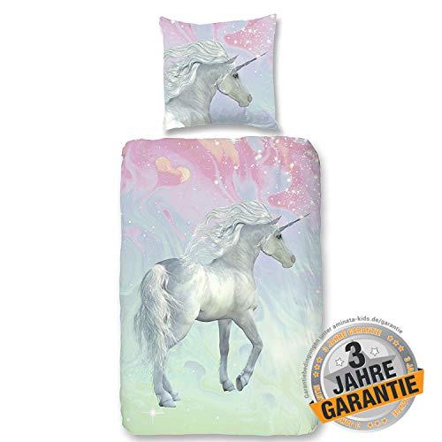 Aminata Kids Einhorn Bettwäsche 135 x 200 cm, 80 x 80 cm, Baumwolle, Reißverschluss - Kinderbettwäsche mit Unicorn-Motiv - Kinder Bettwäsche-Set für Mädchen & Jugendliche