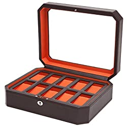 Windsor 10 Piece Locking Watch Box in Brown and Orange - Designed by Wolf