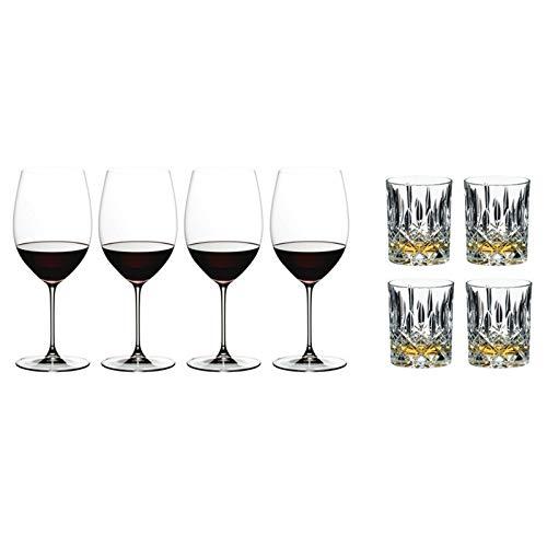 Riedel 6449/0 Veritas Cabernet/Merlot Weingläser, 4er Set plus Riedel 0515/02 S3 Tumbler Collection Spey Whisky