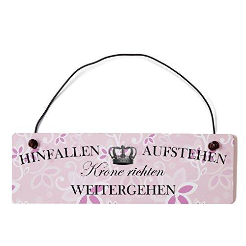 Holz-krone (Deko Shabby Chic Schild Hinfallen Aufstehen Krone richten Vintage Holz Türschild in rosa mit Draht)