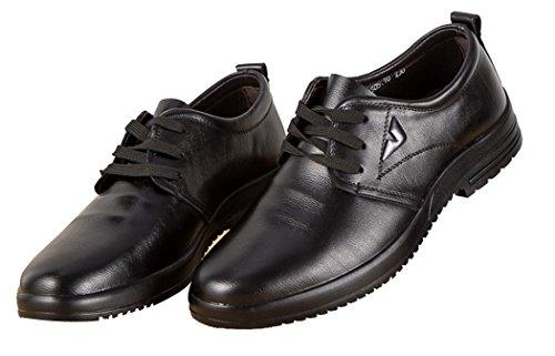 Anlarach Herren Lederner Beleg Auf Schnüren Sie sich oben Schuhe Flache Müßiggänger SchwarzL