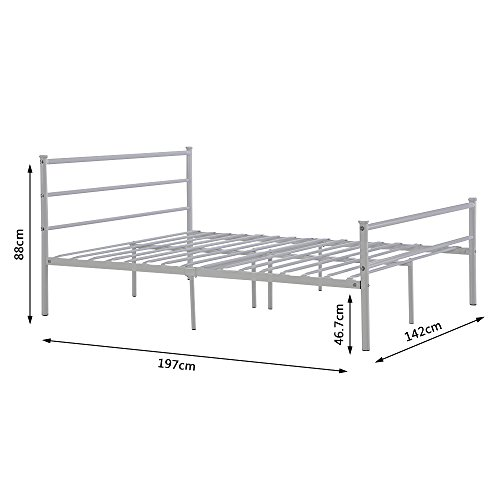 Strong Silver Metal Double Bed Frame 4FT6 Bedstead for Kids Adult Children No Mattress