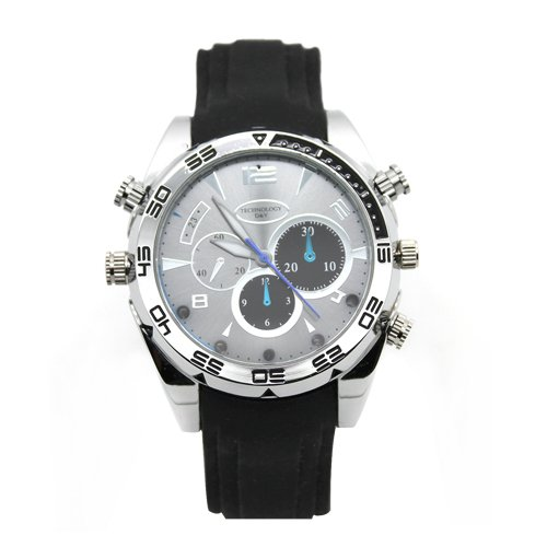 Flylinktech®-16 GB HD Wasserdicht Spy Watch Uhr Spia Kamera Versteckter Nachtsicht schwarz + silbernes Zifferblatt (Nachtsicht Spy Kamera Watch)