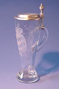Zimmermann Bierseidel Bier-Krug Fussballer Wei/ßbierkrug mit Zinndeckel und Henkel 0,5l
