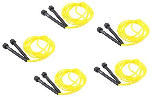 Set: 5x Springseil, Speed Rope 3 Meter, gelb