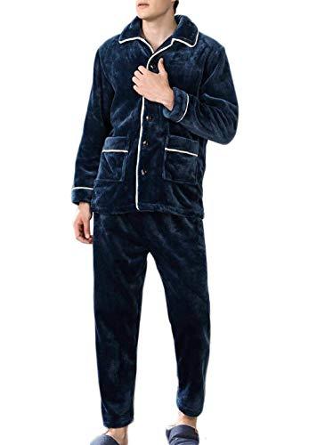 DAFREW Herren Pyjamas, dick und warm Home Kleidung Herbst und Winter Revers Mode Freizeitkleidung Pyjama Set (Farbe : Blue 2, größe : XL) -