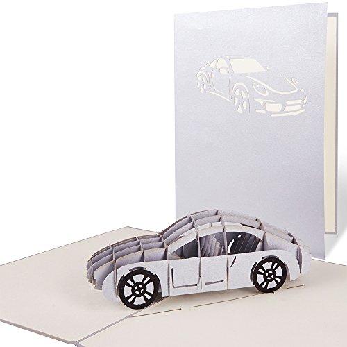 PaperCrush® Pop-Up Karte Auto Führerschein - 3D Karte, Glückwunschkarte zur Führerscheinprüfung - Handgemachte Geburtstagskarte zum 18. Geburtstag