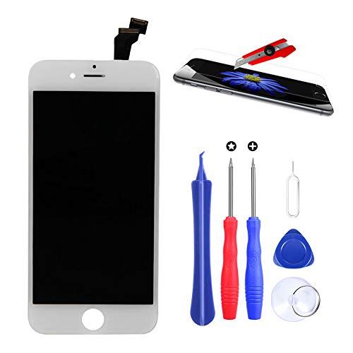 USHINING Display für iPhone 6 Weiß, LCD-Touchscreen mit gehärtetem Film für iPhone 6 MEHRWEG