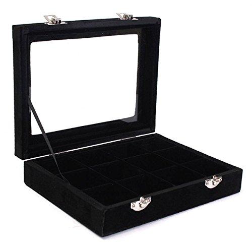 Samt Glas Schmuck Box Ring Display Organizer Tablett-Halter Ohrringe Aufbewahrung Fall 12grids-black