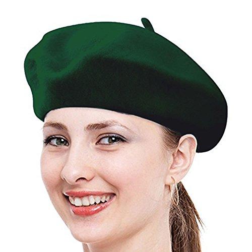 Babe Mall Inc® Chapeau Beret français classique unisexe de Laine - vert