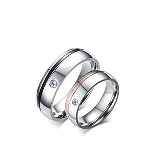 Beydodo 1PCS Stainless Steel Ring T 1/2 Cubic Zirconia Round