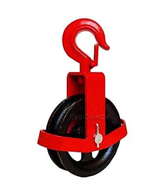 Umlenkrolle mit Haken 125mm Seilzug Flaschenzug Seilrolle Windenrolle