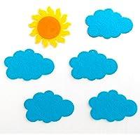 Bastelfilz Figuren Set - Sonne mit Wolken - Filz, Textilfilz, Streudeko