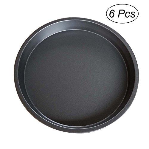 ounona 20,3cm Aluminiumguss Pizza Pfanne rund Pizza Backblech tief Kuchenform 6Stück (Dish-sets-service Für 8)