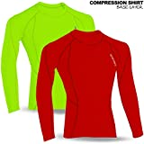 Herren Full Long Sleeve Thermo Base Layer Compression Shirt Top Body Armour rot, fluoreszierend Medium Fluorescent