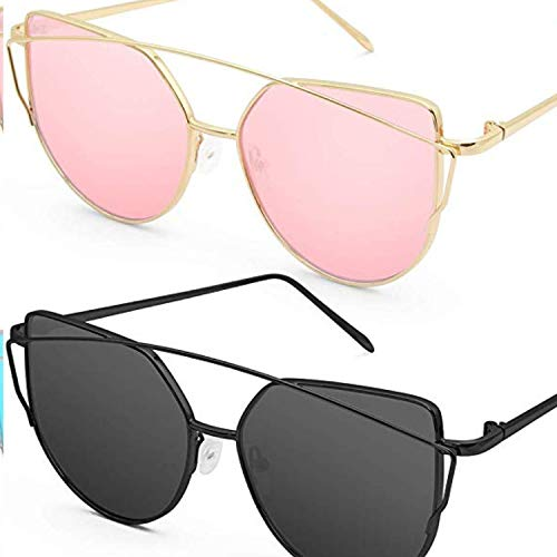 Katzenauge Metall Rand Rahmen Damen Frau Mode Sonnebrille Gespiegelte Linse Women Sunglasses SJ1001