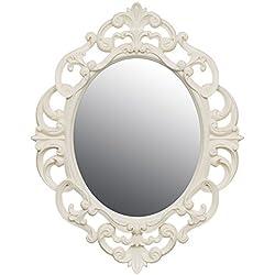 Pequeño vintage Ornate Oval espejo de pared–color blanco, crema, negro o gris