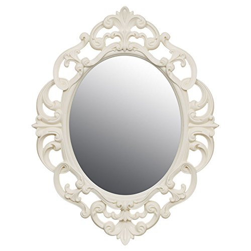 Pequeño vintage Ornate Oval espejo de pared – color blanco, crema