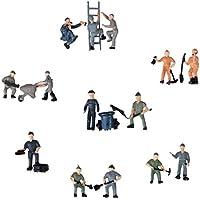 25pcs 1:87 Figurines Peintes Figures Miniatures des Travailleurs Ferroviaires avec Seau et Echelle