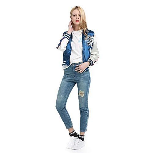 QZHE Bomberjacke Blue Floral Damen Jacke Rundhals Langarm-Tasche Zip Jacke Bestickte Lässige Bomberjacke, S
