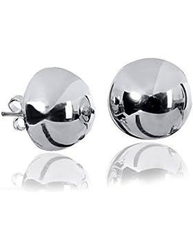 MATERIA 12mm Ohrstecker Halbkugel Silber 925er rhodiniert - Echtsilber Ohrringe Damen Studs inkl. Box #SO-19