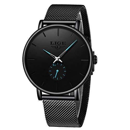 Uhren Herren,LIGE Schwarz Edelstahl Wasserdicht Mode Einfach Analog Quarz Uhr Chronograph Geschäft Kleid Casual Luxus Armbanduhren mit Milanese Mesh Armband