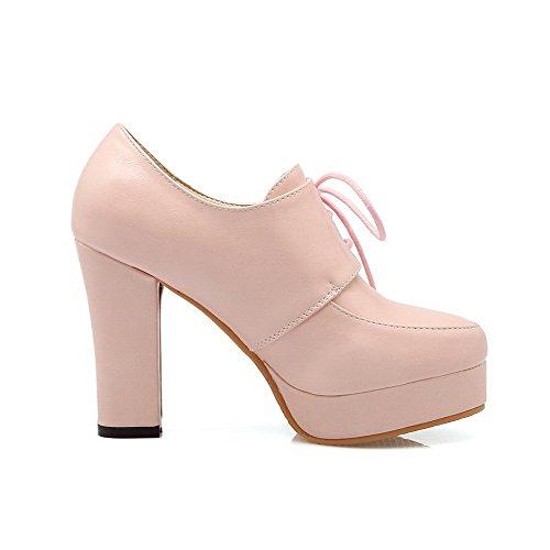 AllhqFashion Damen Schnüren Hoher Absatz Pu Leder Rein Rund Zehe Pumps Schuhe Pink